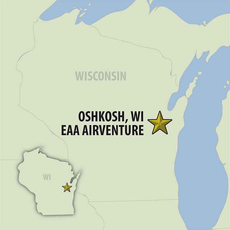 8 Day Oshkosh AirVenture (08UOAG-072119) Map