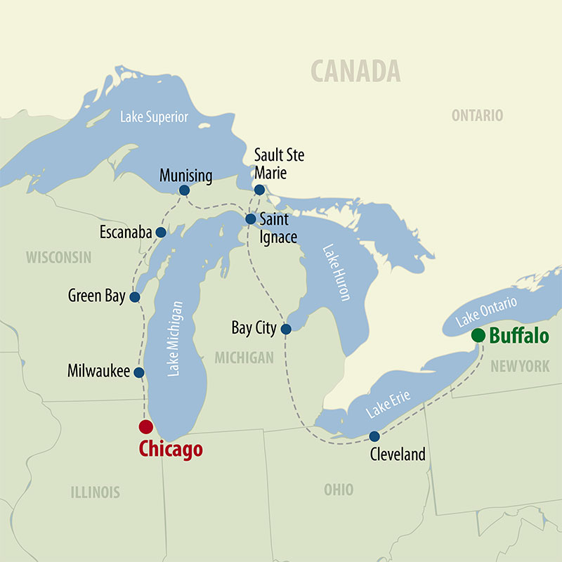 27 Day Great Lakes of North America (27UGLP-071321) Map