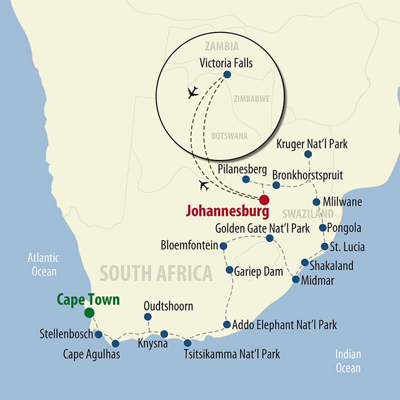 33 Day South Africa RV Safari (33OSAP-021422) Map